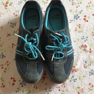 Dansko  shoes blue with turquoise laces and trim.